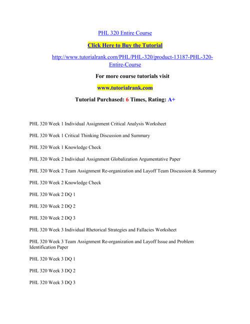 PHL 320 Course Extraordinary Success/ tutorialrank.com