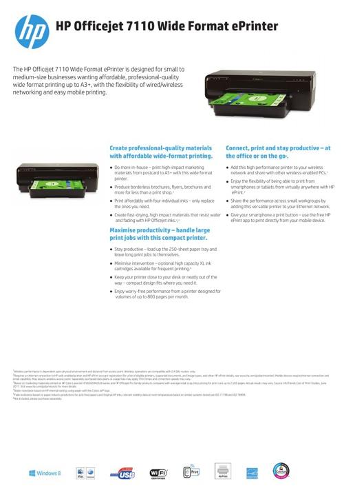 Specsheet HP 7110 printer English