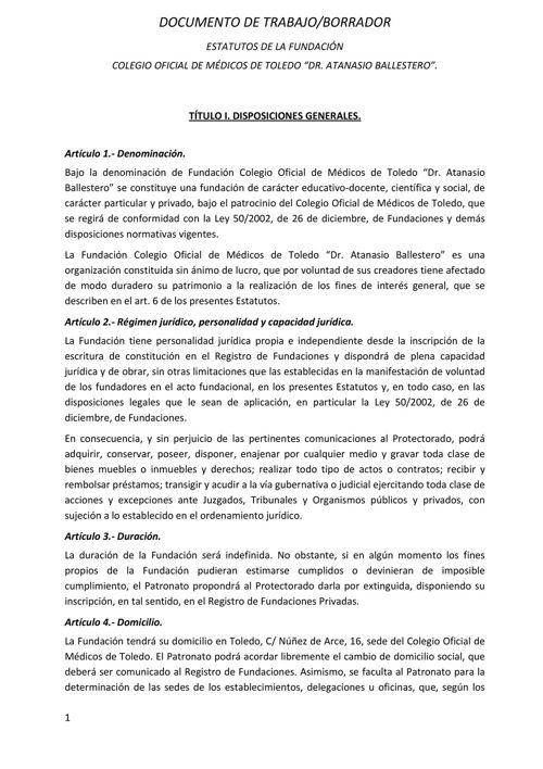 Borrador Estatutos Fundacion COMT Dr. Atanasio Ballestero