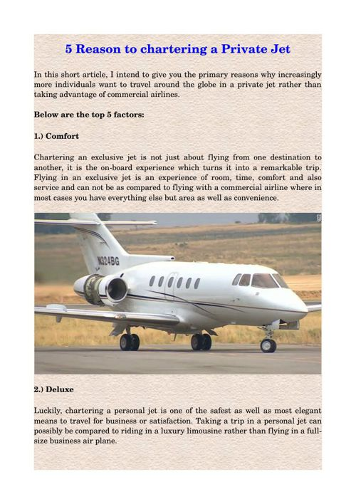5 Reason to chartering a Private Jet