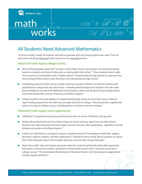 Math Works - Fact Sheets