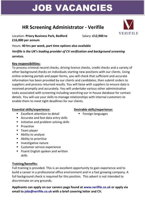 Vacancy & Opportunities Bulletin June (3a) 2013