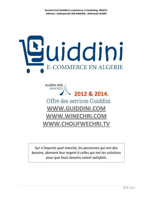 Offre des services Eurl Guiddini   web