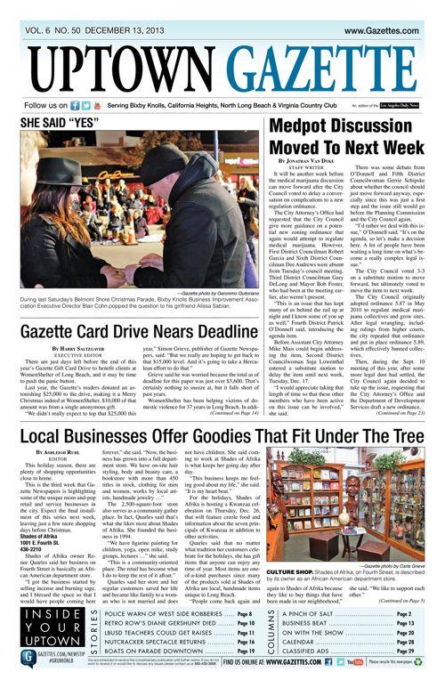 Uptown Gazette  |  December 13, 2013