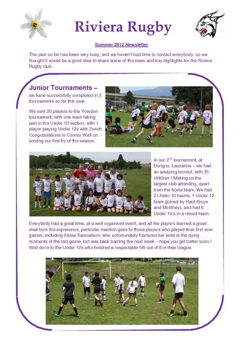 Riviera Rugby Club Newsletter 2012