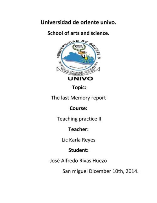 Last memory report.