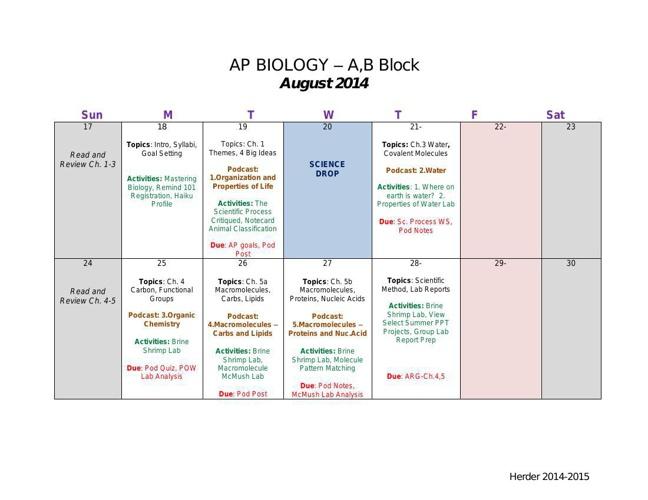 AP Bio Calendar Cannon 2014-2015