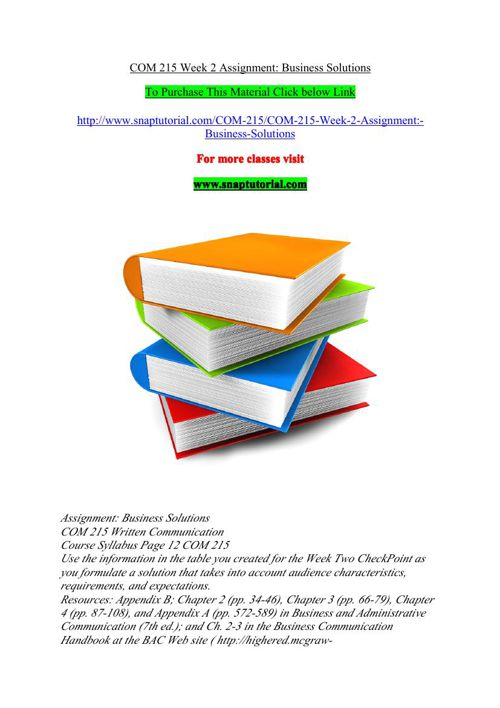 COM 215 Week 2 Assignment Business Solutions