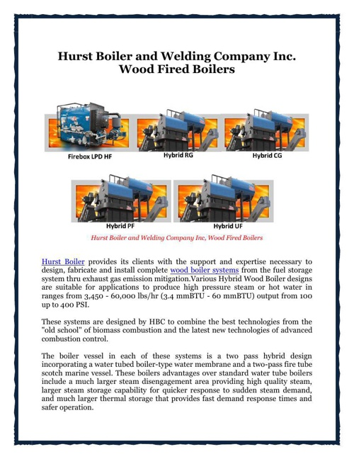 Hurst Boiler and Welding Company Inc. Wood Fired Boilers