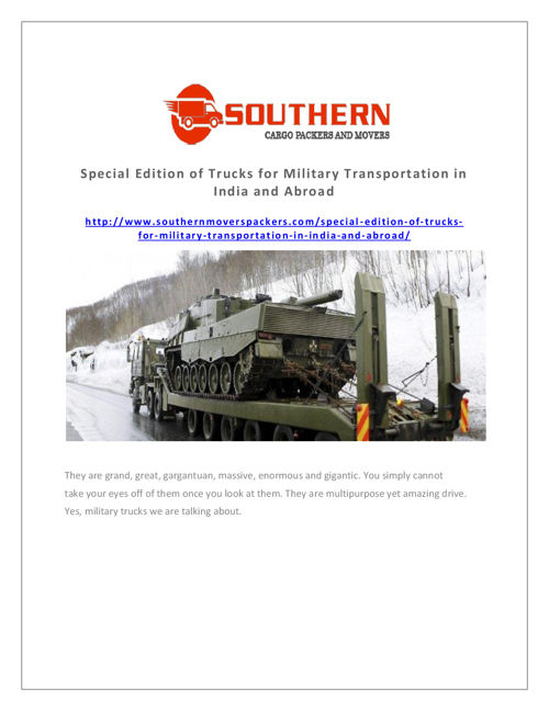 Special Edition of Trucks for Military Transportation