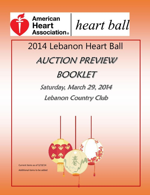 2014 Lebanon Heart Ball Auction Preview