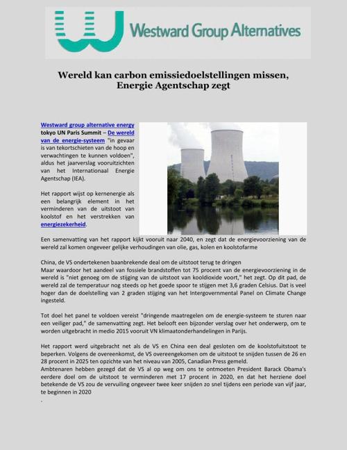 Wereld kan carbon emissiedoelstellingen missen, Energie Agentsch