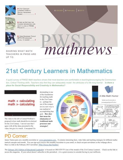 PWSD Math News February 2013