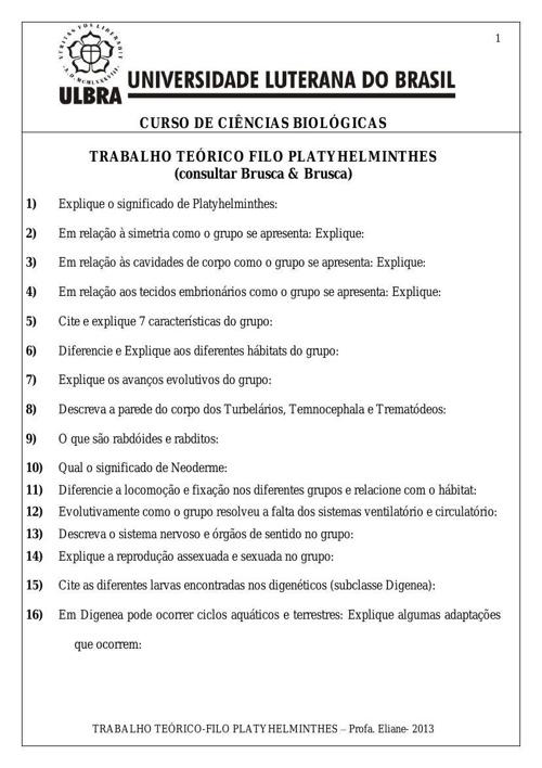 TRABALHO- FILO PLATYHELMINTHES-2013-PORTFÓLIO