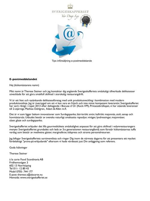 Sverigeskafferiets förslag på analys, struktur och säljmaterial