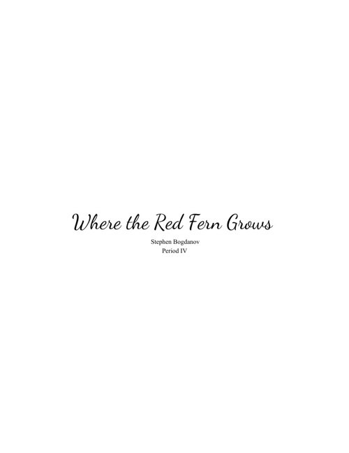 Where The Red Fern Grows LA Project