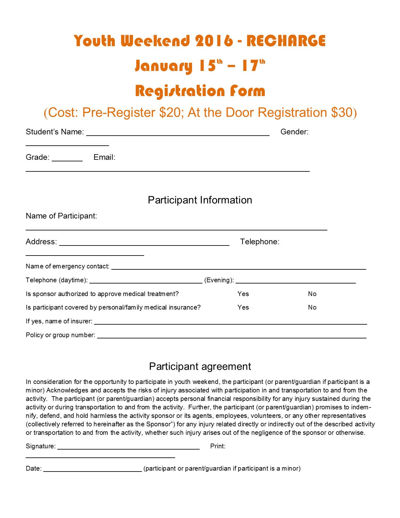 Youth Weekend Registration Form