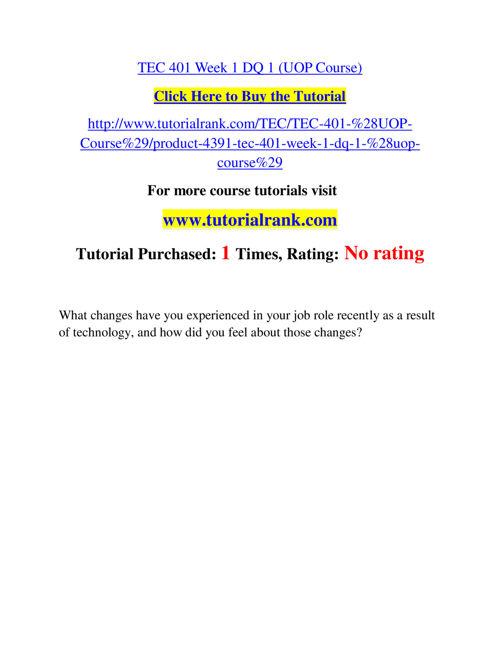 TEC 401 Slingshot Academy / Tutorialrank.Com