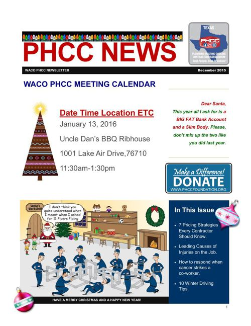 WACO PHCC DECEMBER 2015 NEWSLETTER