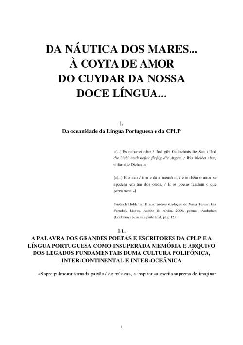 DA NÁUTICA DOS MARES...  À COYTA DE AMOR DO CUYDAR DA NOSSA  DOC