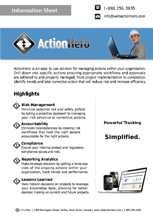 ActionHero Information Sheets