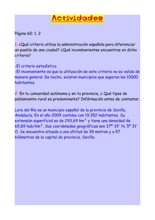 Actividades tema 4 de Sociales