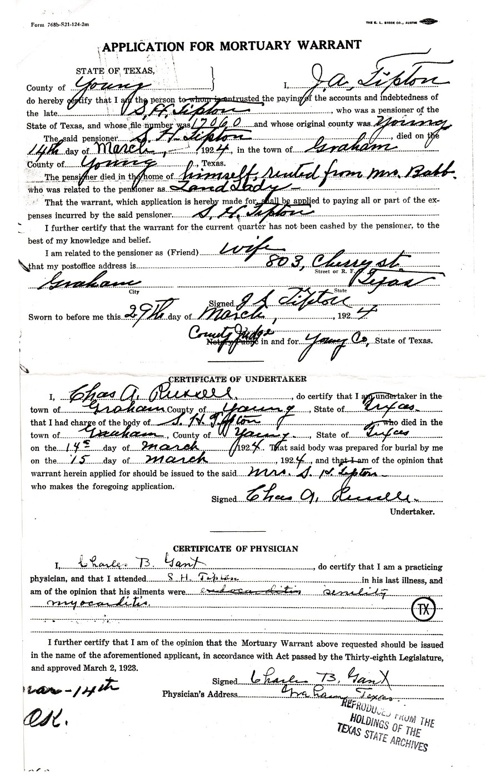 Copy of Sam H Tipton's Pension Application