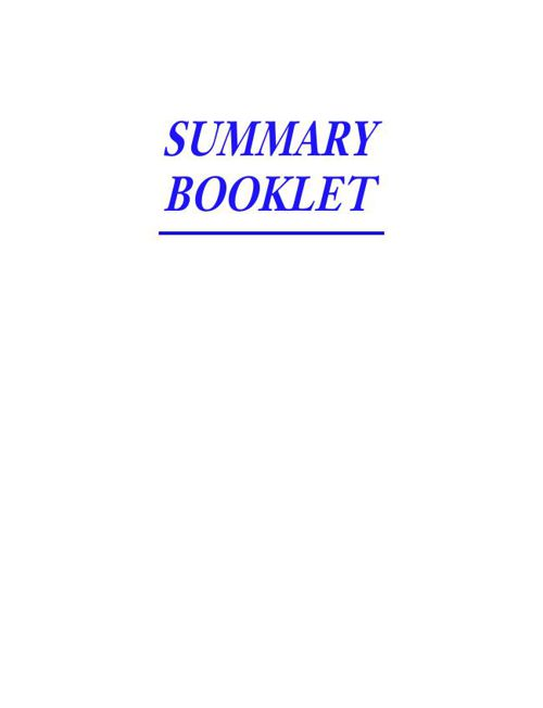 Summary Booklet