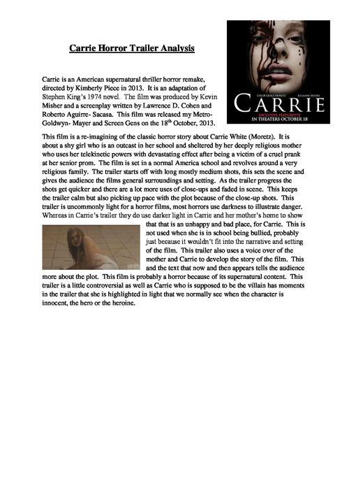 Carrie Horror Trailer Analysis