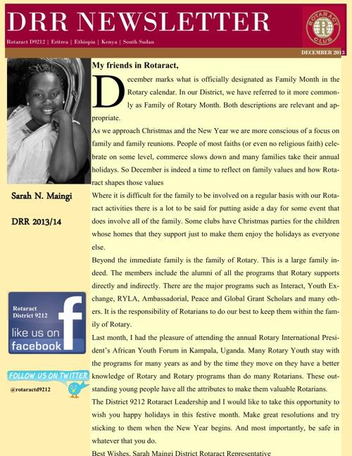 DRR NEWSLETTER - DECEMBER 2013