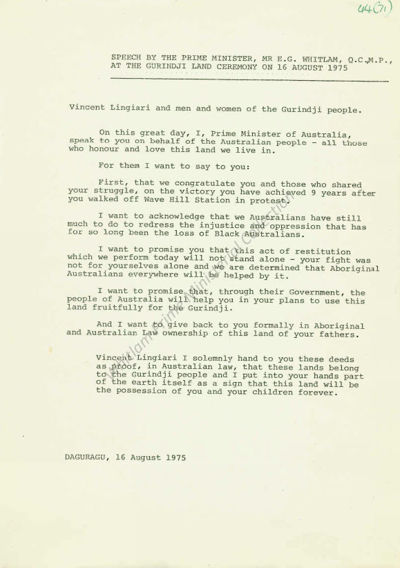 Speech by the Hon Gough Whitlam QC 16 August 1975