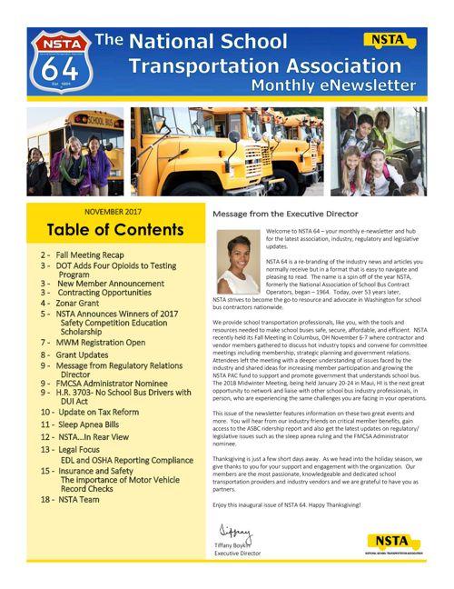 NSTA Monthly eNewsletter November 2017