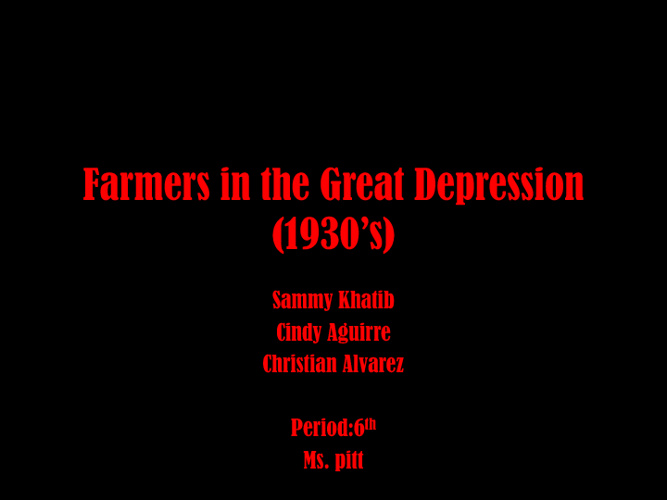 Farmers in The Great Depression