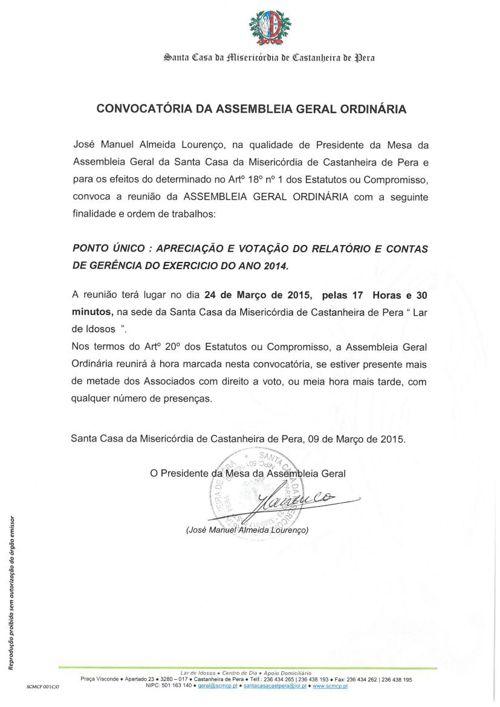 Convocatoria da Assembleia Geral ordinária