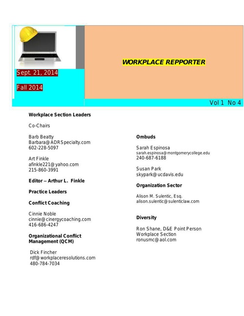 Fall 2014 ACR Workplace Reporter