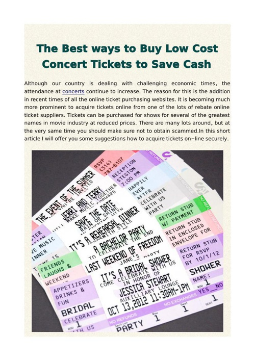 The Best ways to Buy Low Cost Concert Tickets to Save Cash