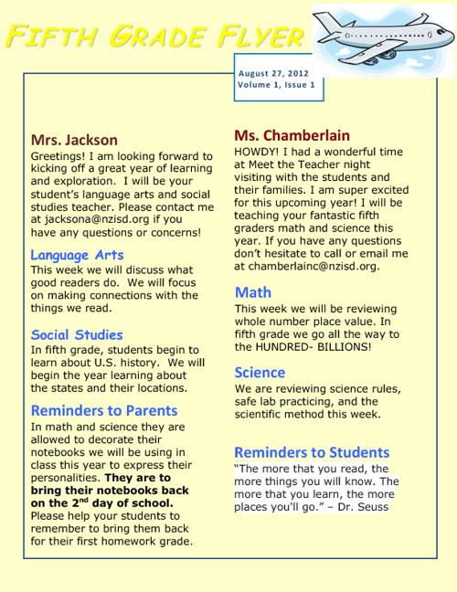 Fifth Grade Flyer