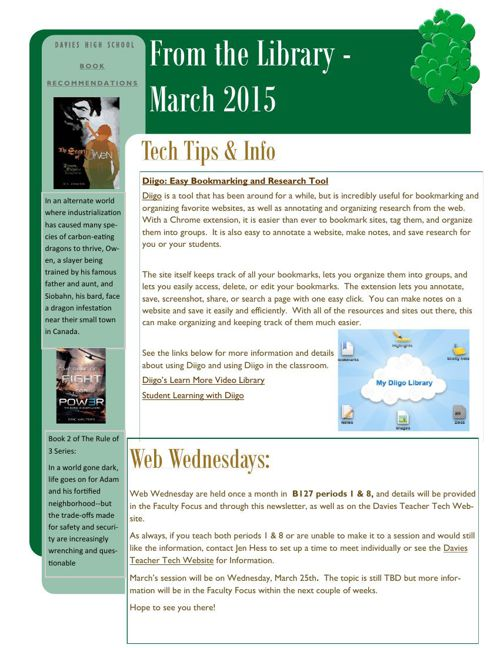 From the Library Monthly Newsletters 2013-2015