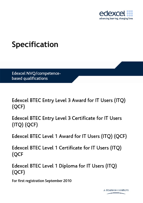 Edexcel BTEC ITQ Level E3/1 Specification