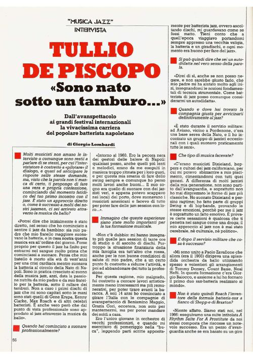 Tullio De Piscopo _ Sono Nato Sotto un Tamburo