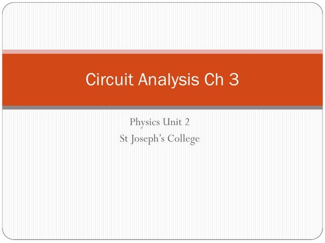 Circuits : Ch 3