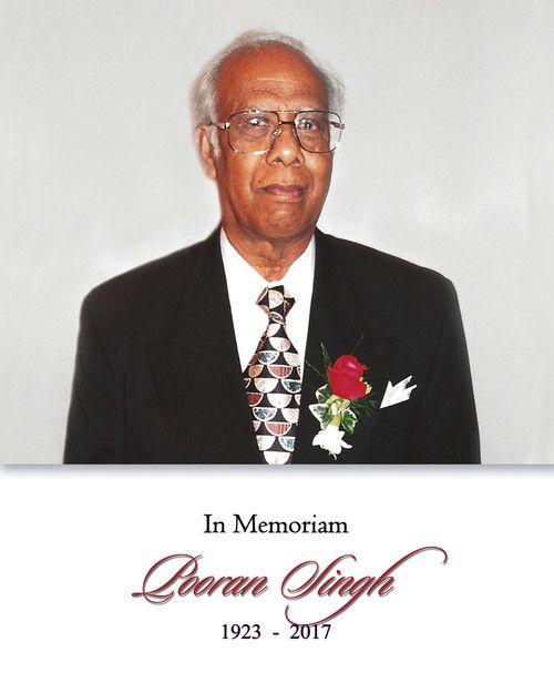 Memorial Card for Pooran Singh