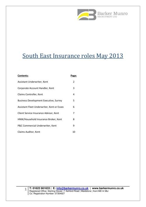 Barker Munro Insurance Jobs, May 2013