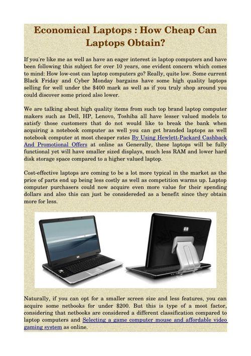 Economical Laptops : How Cheap Can Laptops Obtain