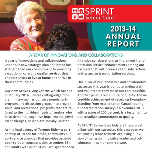 SPRINT Senior Care's 2013-14 Annual Report