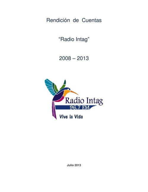 Rendición de Cuentas de Radio Intag