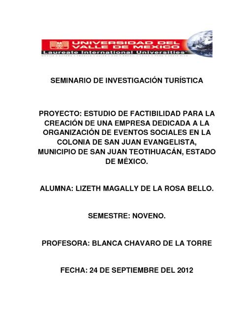 PROYECTO SEMINARIO DE INVESTIGACIÓN TURISTICA