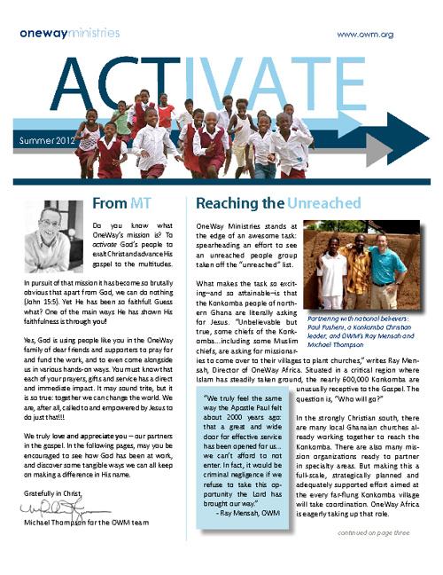 Activate - Summer 2012 - OneWay Ministries