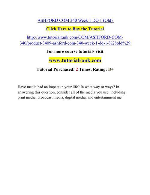 COM 340 Potential Instructors/tutorialrank