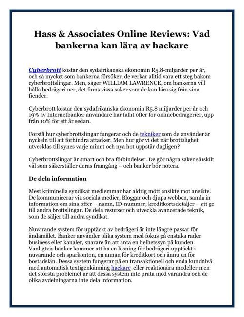 Hass & Associates Online Reviews Vad bankerna kan lära av hackar